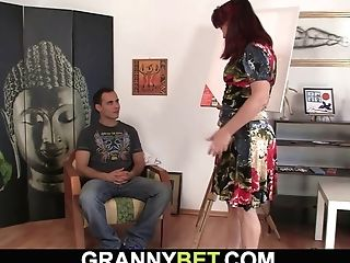 Hot Red-haired Old Woman Rails His Meat