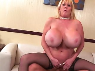 Blonde Cougar Has A Massive Pair Of Tits And Loves Muff Stuffing