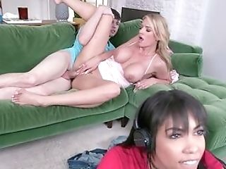 Blonde Bitch Gets Laid With Sis's Beau In A Weird Tryout