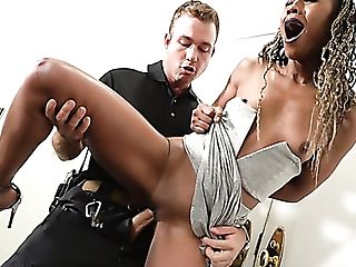 Dark-hued Lady With Puny Tits Misty Stone Gets Fucked By Lewd Cop