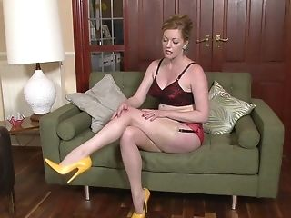 Wifey With Stockings And Yellow High-stilettos - Holly Smooch