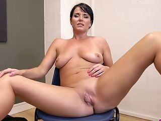 Busty brunette milf does sexy striptease