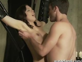 Suspended By The Wrists Tethered Dark-haired Lactates Gets...