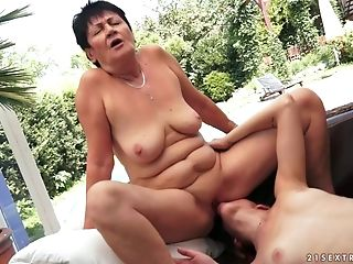 School Blonde Sweetie Frigs And Licks The Cunt Of A Granny Fuckslut
