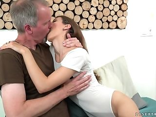 Matures Boy Gets Lucky With Insatiable Dark-haired Stefanie
