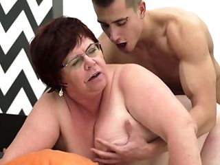 Fat Old Woman Is Getting Penetrated By A Horny Youthful Man On Couch