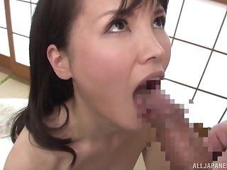 Japanese Dark-haired Mummy Misako Kumagai Rails And Deep-throats A...