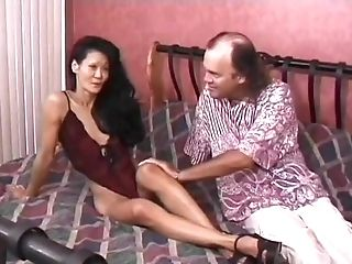 Old Fart Fucks Skinny Japanese Wifey On The Couch