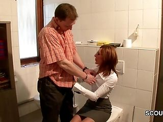 Sexy German Mom get fucked during her Work