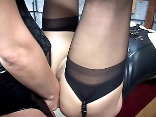 Corseted gartered c-cup domination & submission redhead spreads...