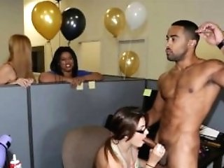 Secretaries Sucking Strippers At Work Bday Soiree