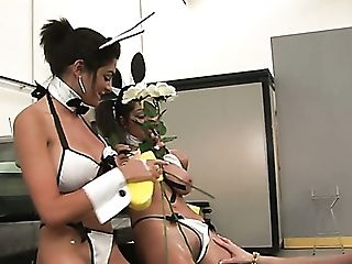 Sexy And Dirty Mummy Whores With Bunny Ears Playing In The Garage