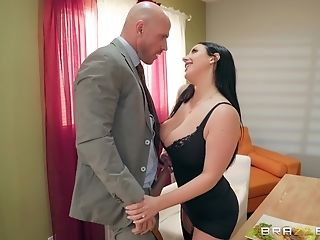 Buxom Bombshell Stunner Angela Milky Blows And Fucks Her Customer