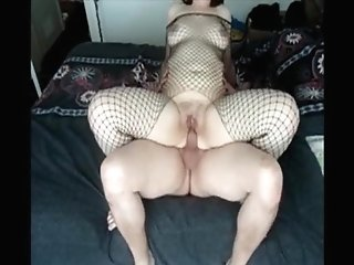 Check My Cougar In Fishnet Bodystockings Railing Penis