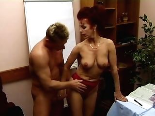 Crimson Haired Still Horny Matures Bitch Gets Old Cunt Fucked On...