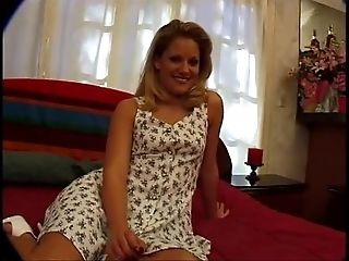 Sexy blonde strips summer sundress and masturbates