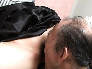 Old Man Is Eating That Moist Hairy Nubile Cootchie Up
