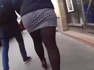 Spycam Brown-haired Cougar In Taut Miniskirt-pantyhose Ambles While...
