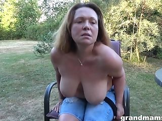 Matures Whore Janna Gets Naked And Masturbates Cunt In The Garden