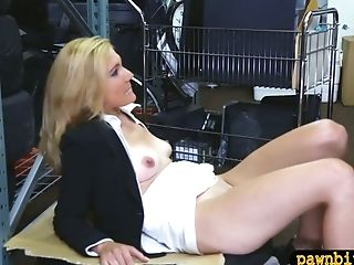 Sexy Ash-blonde Mummy Drilled In Storage Room Of A Pawnshop