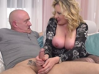 Beautiful Platinum-blonde Hair Nymph Lardy Mommy Pounded Hard  - Rough