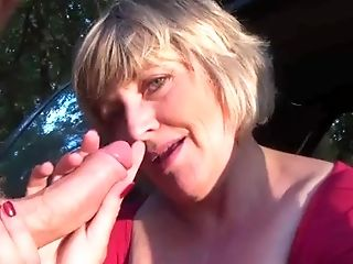 wifey in car masturbates and blows hubby's man meat
