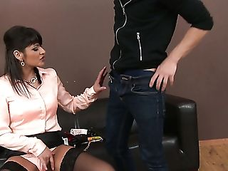 Fully Clothed Cougar Tera Joy Lets Dude Urinate Onto Her Face