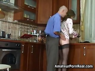 Sexy Russian Matures Fucks Youthfull Man In Kitchen