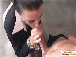 Cougar manager wants his fuckpole in her cock-squeezing asshole
