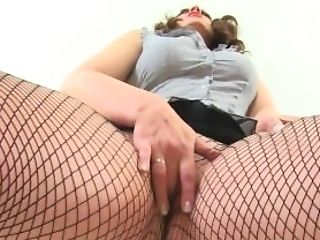 Scottish Cougar Toni Lace Is Your Assistant In Fishnets