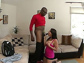 Sporty Well Shaped Beauty Kayla West Lures Nerdy Black Dude For Hot...