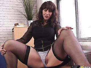 Bookkeeper Toni Lace Shows Her Nasty Twat Upskirt In The Office