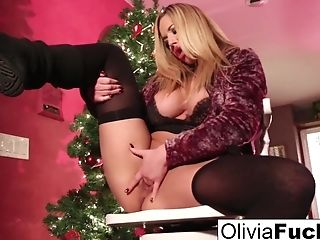 Christmas Onanism With Huge-titted Blonde Olivia...