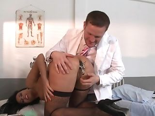 Lewd Lass In Dark Stockings Gives Her Culo To A Medical Pro In A...