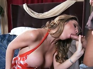 Amazing, Blonde Cougar Wearing Orange And Milky Top Gets Her Nice...
