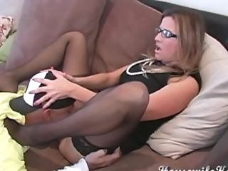 Stockings-wearing Dark Haired In Glasses Railing His Massive Dong