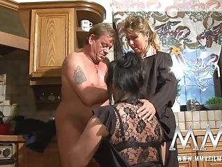 Obese Dark Haired Matures Bitch In Nylons And Her Ponytailed Friend...