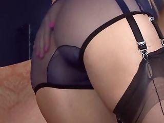 Classy Lady In Erotic, Sheer Undergarments Is Leisurely Getting...