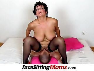 Big globes lady Greta old youthfull face-sitting and snatch eating