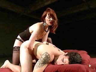 Ginger-haired Mistress In Black Stockings Slams Big Gear In...