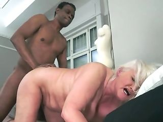 Granny With Milky Hair Drinks Wine With Her Black Suitor And Gets...