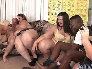 Four Manhood Longing Bbws Gobbling Each Other During Crazy Group...