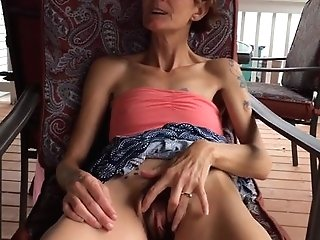 Skinny Wifey Lifting Her Sundress To Demonstrate Hairy Vag
