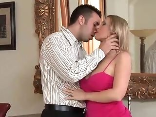 Blonde Cougar With Big Tits Wearing A Pink Sundress Gets Her Cunt...