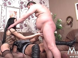 Boobilicious Dark-haired In Fishnet And Blonde Granny In High Boots...