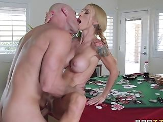 Bitchy Tattooed Broad Is Arched Over A Poker Table And Fucked With...