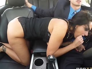 Chesty Dark-haired In Black Undergarments And Stockings Gives...