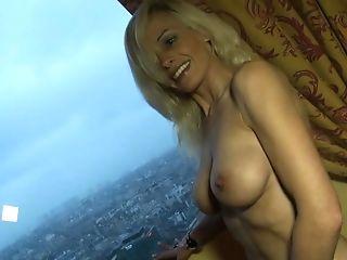 Whorey Blonde Mom In Checked Micro-skirt Exposing Her Slammed...