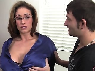Stud Wants To Sundress Big-chested Mom In A Blue Half-shirt And...