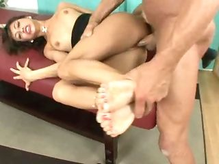 Muscled Hunk Adores Lady's Feet And Bangs Her Sleek Slit